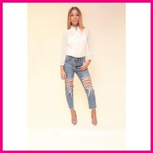 NWT Denim Jeans w/ Pink Ballerina Thigh Laces SML